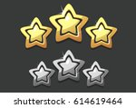golden three star icon rating... | Shutterstock .eps vector #614619464
