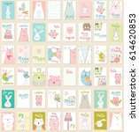 collection of cute artistic... | Shutterstock .eps vector #614620853