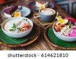 healthy breakfast made of... | Shutterstock . vector #614621810