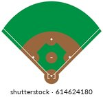 flat green baseball grass field ... | Shutterstock .eps vector #614624180