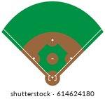 flat green baseball grass field ... | Shutterstock .eps vector #614624180