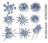 fireworks vector icon set. | Shutterstock .eps vector #614625680