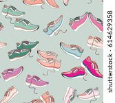 colorful sneakers. seamless... | Shutterstock .eps vector #614629358