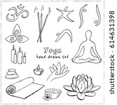 hand drawn doodle yoga symbols  ... | Shutterstock .eps vector #614631398