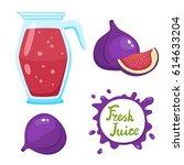 vector set of natural fresh fig ... | Shutterstock .eps vector #614633204