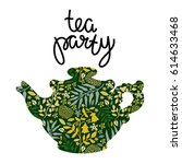 tea pot silhouette  flowers ... | Shutterstock .eps vector #614633468