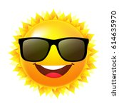 sun with sunglasses  | Shutterstock . vector #614635970