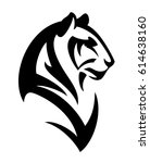 tiger profile head   black and... | Shutterstock .eps vector #614638160