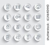 smart house system line icons...