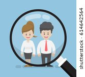 magnifying glass focused on... | Shutterstock .eps vector #614642564