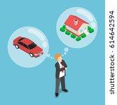 flat 3d isometric businessman... | Shutterstock .eps vector #614642594