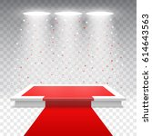 white podium with red carpet... | Shutterstock .eps vector #614643563
