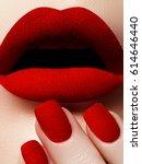lovely red velvet lips and... | Shutterstock . vector #614646440