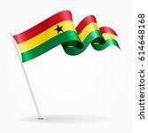 ghana pin icon wavy flag.... | Shutterstock .eps vector #614648168
