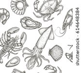 sea food seamless pattern with... | Shutterstock .eps vector #614648384