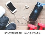 flat lay of mobile phone with... | Shutterstock . vector #614649158