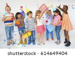 group of kids celebrate... | Shutterstock . vector #614649404