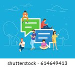 speech bubbles for comment anf... | Shutterstock . vector #614649413