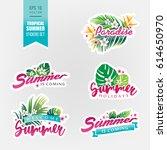 set of tropical summer stickers....   Shutterstock .eps vector #614650970