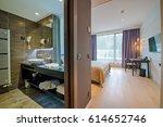 luxury hotel bedroom and... | Shutterstock . vector #614652746