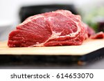 appetizing raw beef or veal... | Shutterstock . vector #614653070