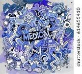 cartoon cute doodles hand drawn ... | Shutterstock .eps vector #614655410
