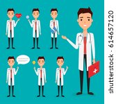 doctor presenting in occupation ... | Shutterstock .eps vector #614657120