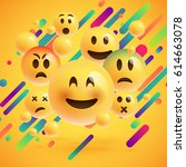 different emojis with colorful... | Shutterstock .eps vector #614663078