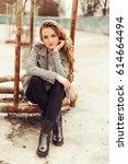young stylish pretty fashion...   Shutterstock . vector #614664494