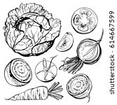 vegetables drawn in ink on a... | Shutterstock .eps vector #614667599