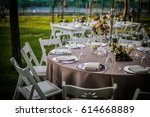 country style wedding ceremony... | Shutterstock . vector #614668889