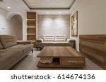 comfortable living room in... | Shutterstock . vector #614674136