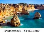 view of praia da marinha ... | Shutterstock . vector #614683289