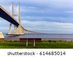 vasco da gama bridge in lisbon  ... | Shutterstock . vector #614685014