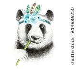 watercolor panda illustration.... | Shutterstock . vector #614686250