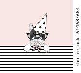 cute festal french bulldog ... | Shutterstock .eps vector #614687684