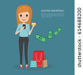 woman shopping with credit card ... | Shutterstock .eps vector #614688200