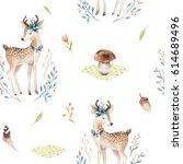 Stock photo cute baby deer animal seamless pattern for kindergarten nursery isolated illustration for 614689496