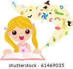 cute little girl reading book | Shutterstock .eps vector #61469035