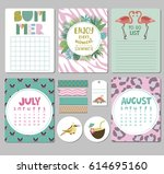 set of calendar daily and... | Shutterstock .eps vector #614695160