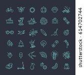 outline web icon set   summer ... | Shutterstock .eps vector #614702744