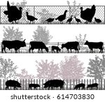 Stock vector collection of silhouettes of farm animals turkeys cows and pigs 614703830