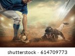 baseball players in game action ... | Shutterstock . vector #614709773