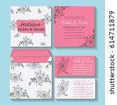 wedding invitation card sweet... | Shutterstock .eps vector #614711879