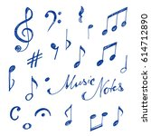 hand drawn music notes set.... | Shutterstock .eps vector #614712890
