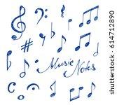 hand drawn music notes set.... | Shutterstock .eps vector #614712890