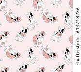 french bulldog seamless pattern | Shutterstock .eps vector #614718236