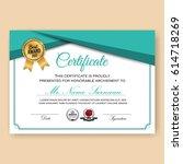 modern verified certificate...   Shutterstock .eps vector #614718269