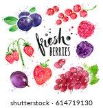 hand painted watercolor... | Shutterstock . vector #614719130