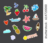 stickers pack on gray background | Shutterstock .eps vector #614720000
